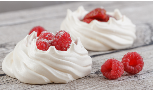 Meringue Nest With Cacao Mousse and Raspberries