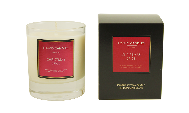 Lovato Christmas Candle with Luxury Black Box - Christmas Spice