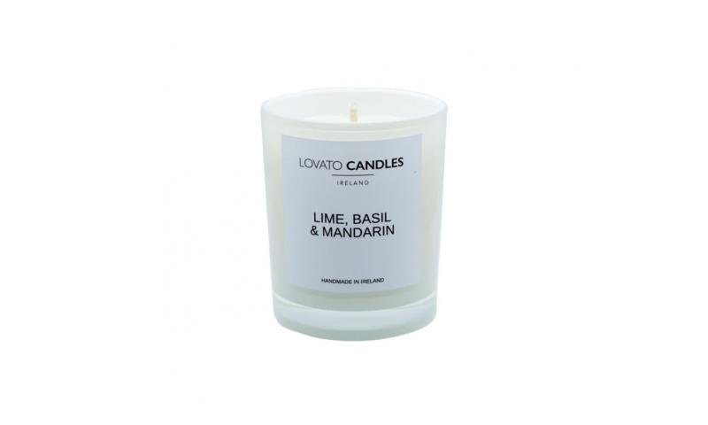 Lovato Small White Votive Candle - Lime, Basil, Mandarin