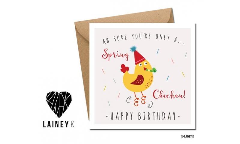 Lainey K Greeting Card: 'Spring Chicken' - Happy Birthday!