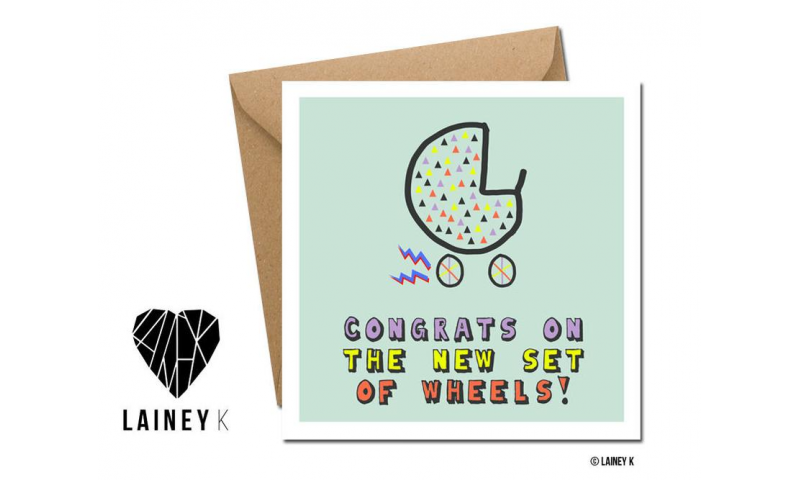 Lainey K Greeting Card: 'Congrats on the new set of wheels!'