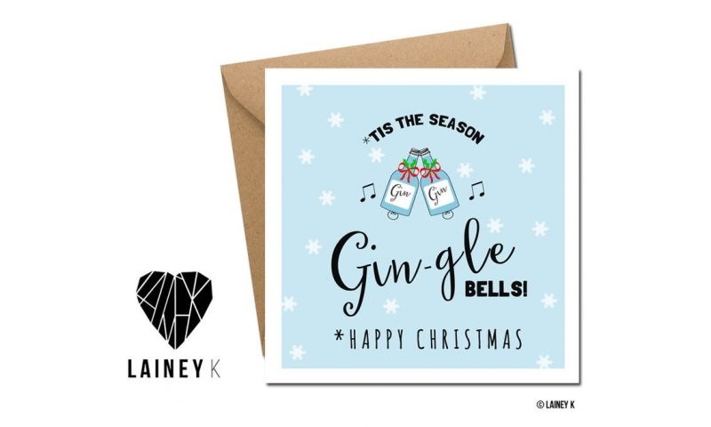 Lainey K Christmas Card - 'Gin-gle Bells'