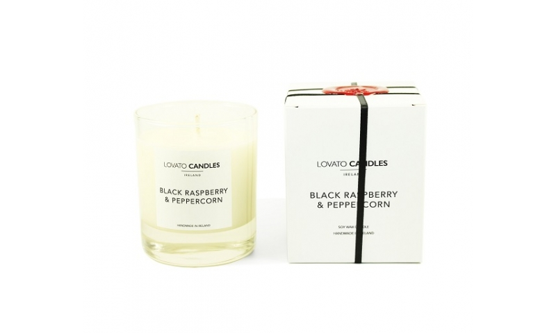 Lovato Clear Candle in Luxury White Box - Black Raspberry & Peppercorn