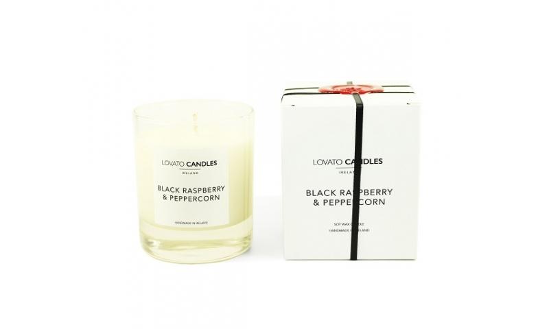 Lovato Clear Candle in Luxury White Box - Black Raspberry & Peppercorn