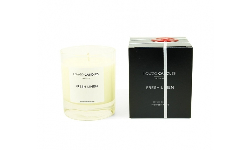 Lovato Clear Candle in Luxury Black Box - Fresh Linen