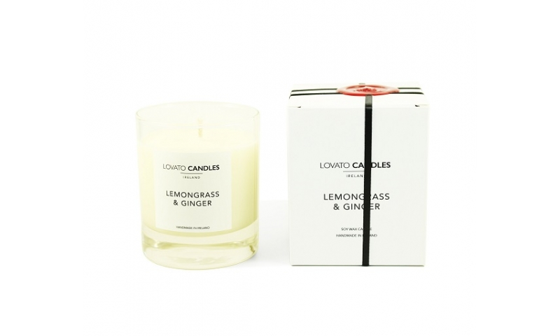 Lovato Clear Candle In Luxury White Box - Lemongrass & Ginger