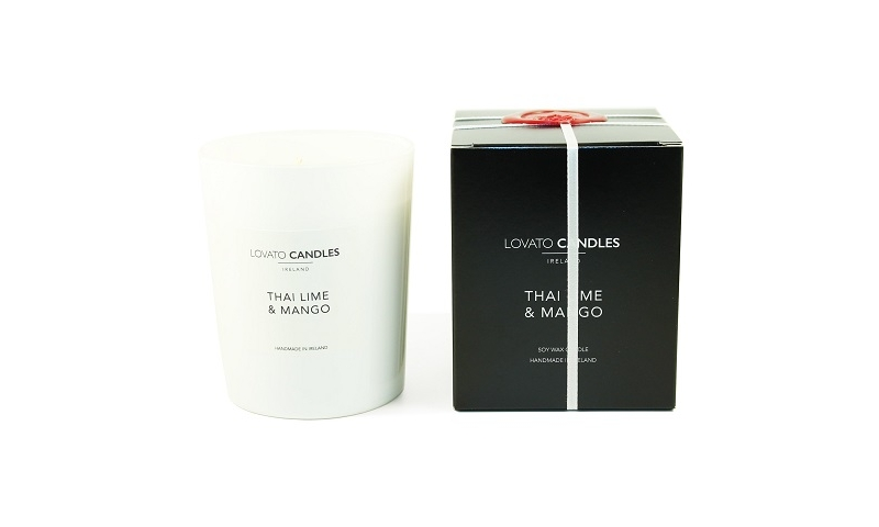 Lovato Clear Candle in Luxury Black Box Thai Lime & Mango