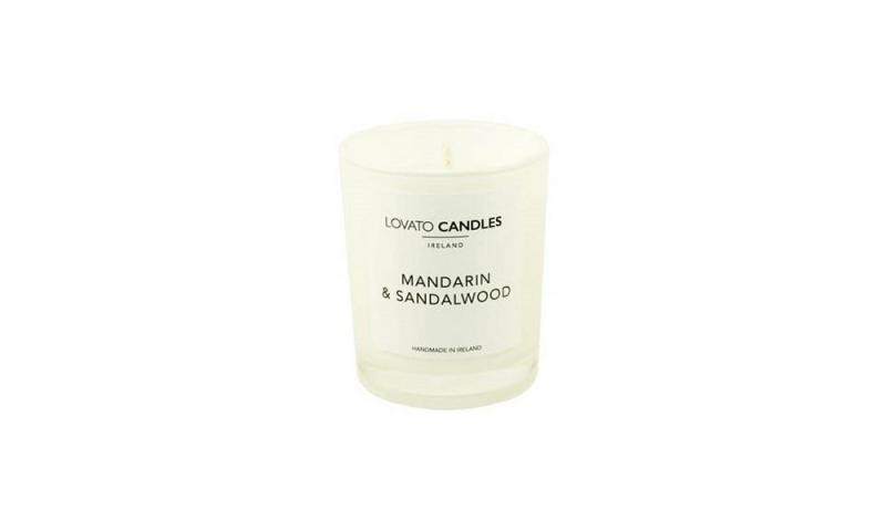 Lovato Small White Votive Candle - Mandarin & Sandalwood