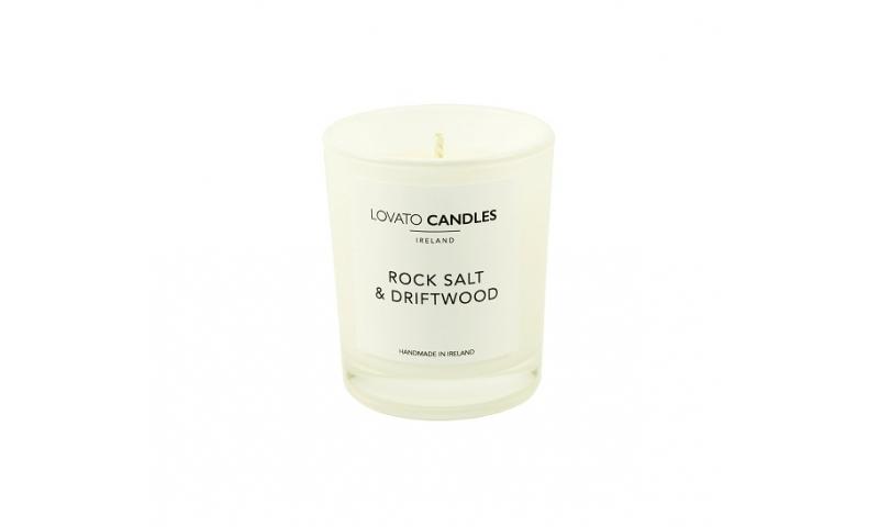 Lovato Small White Votive Candle - Rock Salt & Driftwood