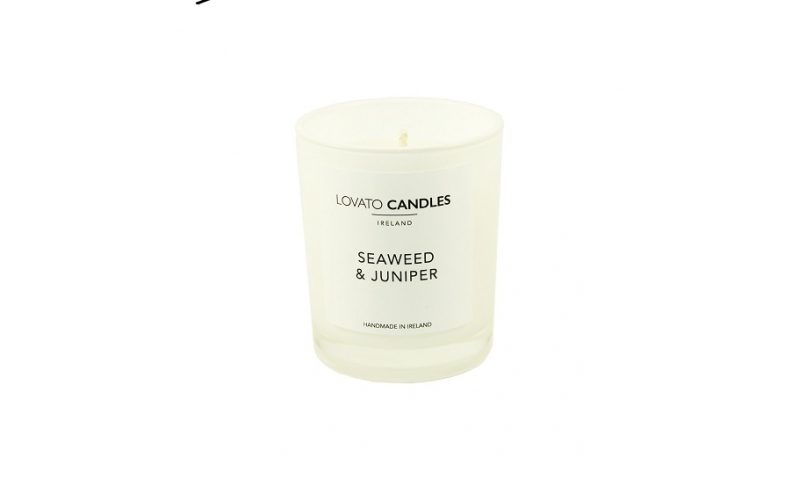 Lovato Small White Votive Candle - Seaweed & Juniper