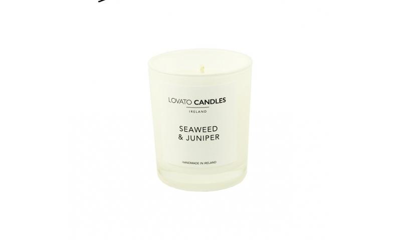Lovato Small White Votive Candle - Seaweed & Juniper