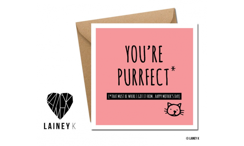 Lainey K Mothers Day Card: 'Mum Your Purrfect'